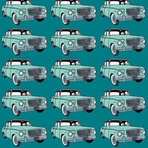 green_Studebaker Lark on teal in straight rows