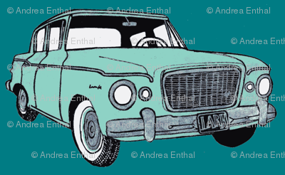 green Studebaker Lark on teal (diagonal rows)