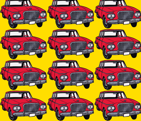 big red 1962-1963 Studebaker Lark on yellow background fabric by edsel2084 on Spoonflower - custom fabric