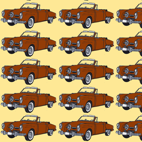 brown 1950 Studebaker convertible bullit nose on yellow fabric by edsel2084 on Spoonflower - custom fabric