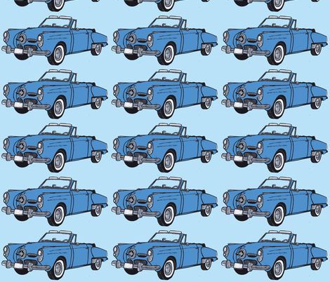 medium blue 1950 Studebaker convertible bullit nose on light blue fabric by edsel2084 on Spoonflower - custom fabric