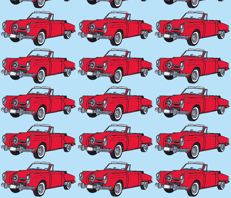 Giant red 1950 Studebaker convertible bullit nose on light blue background fabric by edsel2084 on Spoonflower - custom fabric