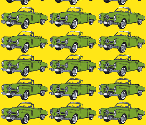 Huge, pea soup green1950 Studebaker convertible bullet nose on yellow fabric by edsel2084 on Spoonflower - custom fabric