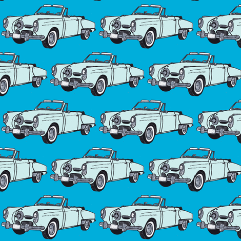 pale blue1950 Studebaker convertible bullit nose on aqua-ch fabric by edsel2084 on Spoonflower - custom fabric