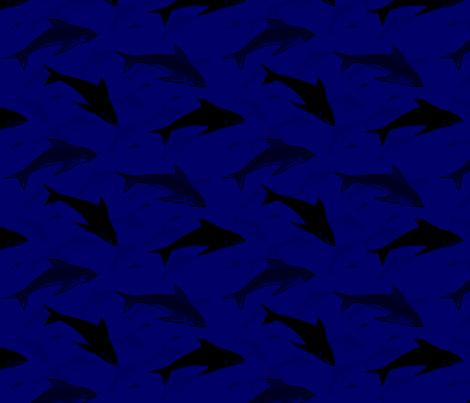 sharks in the deep fabric by j0nnblaze on Spoonflower - custom fabric