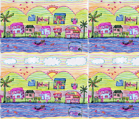 School' out_for_Summer_by 12 yrs, Ching fabric by kalink on Spoonflower - custom fabric