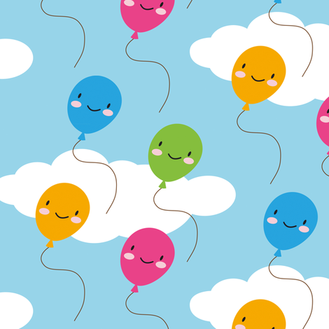 Kawaii Balloons fabric by marcelinesmith on Spoonflower - custom fabric