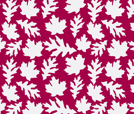Cranberry and white leaves fabric by slkanitz on Spoonflower - custom fabric