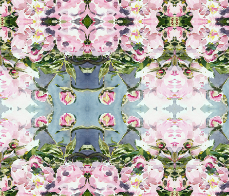 C'EST LA VIV Garden Lark Collection_PEONY 8  fabric by cest_la_viv on Spoonflower - custom fabric