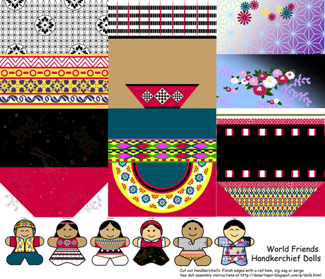 International Friends Handkerchief Dolls fabric by evenspor on Spoonflower - custom fabric