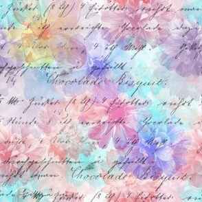 Watercolor Flowers and Script