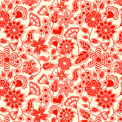 Redwork fabric by totallysevere on Spoonflower - custom fabric