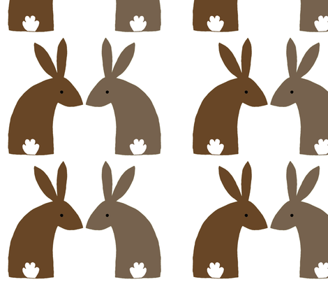 Bunniesnatural fabric by celebrindal on Spoonflower - custom fabric