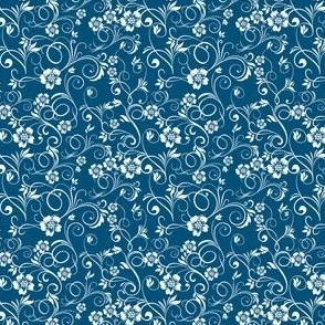 Swirly Flowers, teal