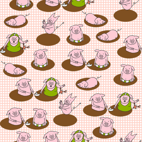 SteffFabrics Piggy Spa fabric by steffstyle on Spoonflower - custom fabric