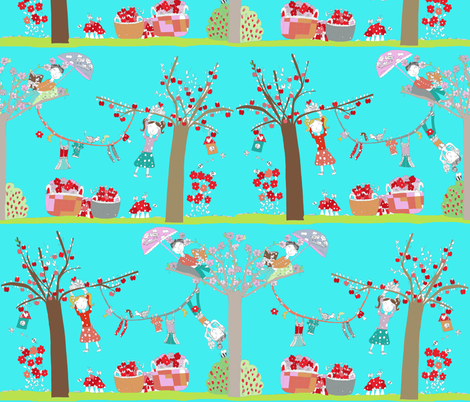 Kids design contest: Strawberries and apples fabric by my daughter Marta fabric by katarina on Spoonflower - custom fabric