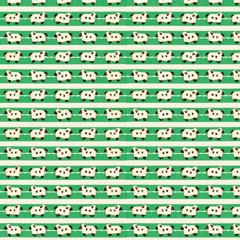 Sheep on Green Ribbons Double Line fabric by incomparable on Spoonflower - custom fabric