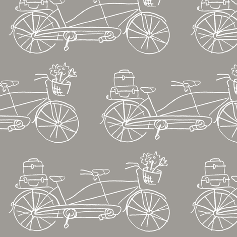 Vintage Traveler - Warm Gray fabric by pattysloniger on Spoonflower - custom fabric