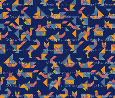 Tangram Fever on Blue