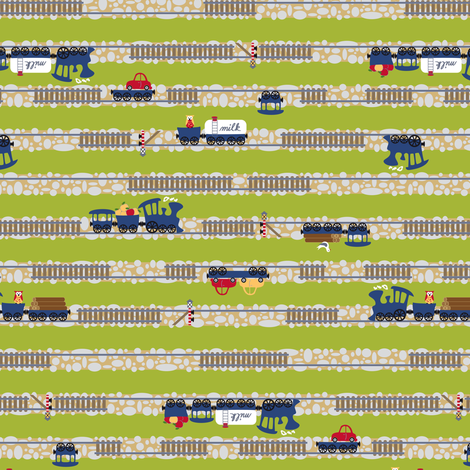 Choo Choo Stripes on Green fabric by annosch on Spoonflower - custom fabric