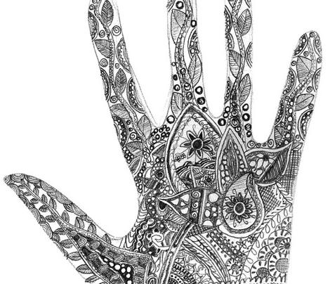 Henna Hand Sketch | makedes.com