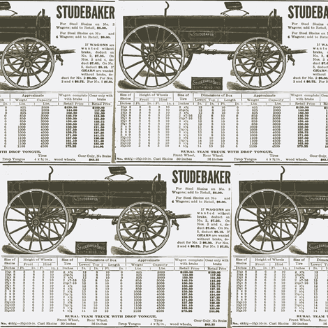 1925 Studebaker wagon ad (white) fabric by edsel2084 on Spoonflower - custom fabric