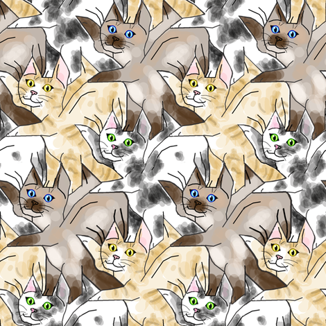 Flying kittens fabric by eclectic_house on Spoonflower - custom fabric