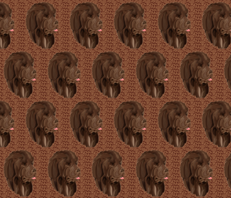 Brown Newfy portrait fabric by dogdaze_ on Spoonflower - custom fabric