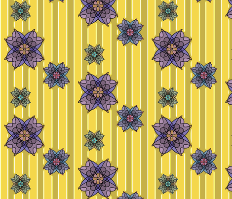 Three Flowers (Lemon) fabric by david_kent_collections on Spoonflower - custom fabric