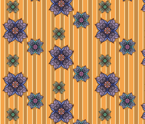 Three Flowers (Curry) fabric by david_kent_collections on Spoonflower - custom fabric
