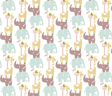 Spring Safari Tower (Rhino) fabric by ttoz on Spoonflower - custom fabric