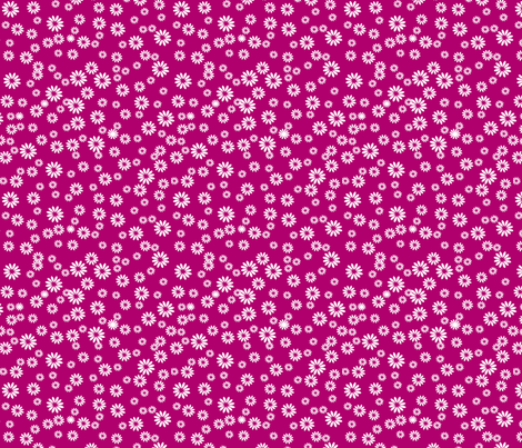 Tiny Daisies on Dark Pink fabric by carinaenvoldsenharris on Spoonflower - custom fabric