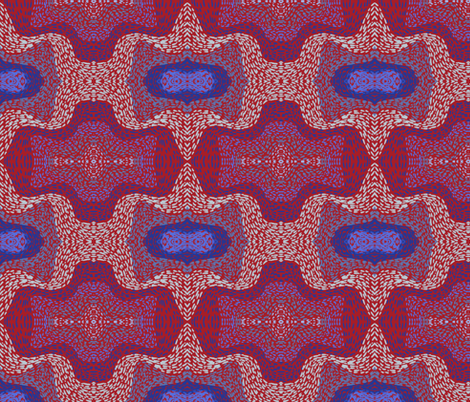 Bat paths in blues on red fabric by su_g on Spoonflower - custom fabric