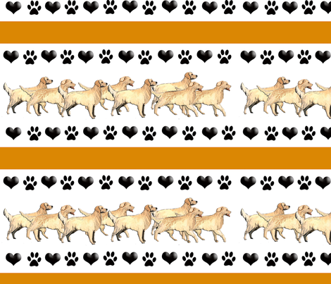 golden hearts_and_paw_prints fabric by dogdaze_ on Spoonflower - custom fabric