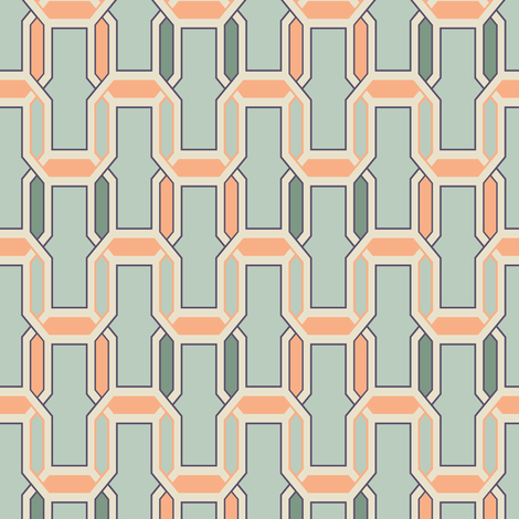 steel_and_coral_interlock fabric by ravynka on Spoonflower - custom fabric
