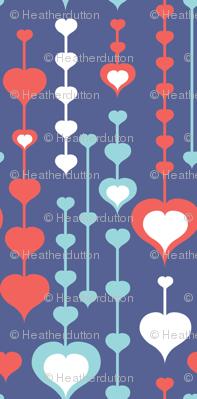 Falling In Love - Retro Valentine's Day Hearts Purple