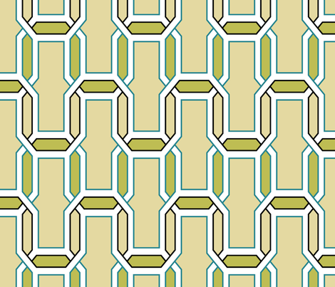 interlock_vanilla_teal_olive fabric by ravynka on Spoonflower - custom fabric