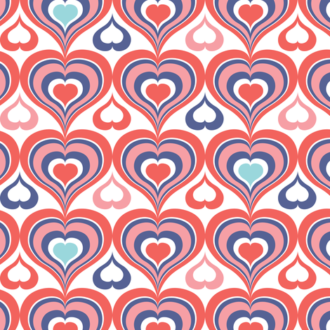 Groovy Kind Of Love - Retro Valentine's Day Hearts Pink fabric by heatherdutton on Spoonflower - custom fabric