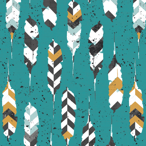 feathers on teal fabric by katarina on Spoonflower - custom fabric