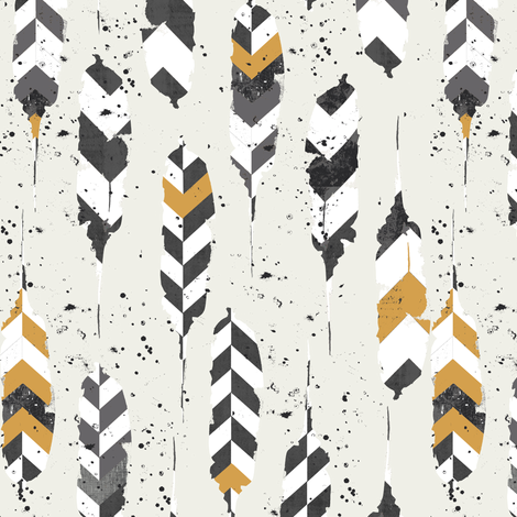 Feathers on ivory fabric by katarina on Spoonflower - custom fabric
