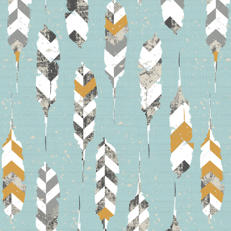 feathers on light blue fabric by katarina on Spoonflower - custom fabric