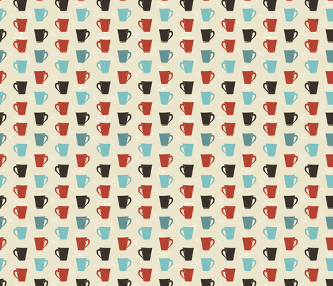 Retro Coffee Cups Pattern fabric by diane555 on Spoonflower - custom fabric