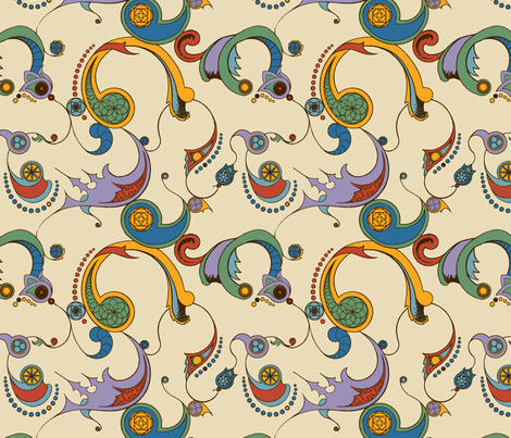 Steampunk Swirls - Coloured fabric by redpumpkinstudio on Spoonflower - custom fabric