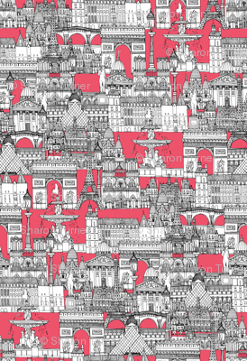 Paris toile strawberry pink