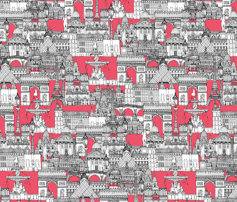 Paris toile strawberry pink fabric by scrummy on Spoonflower - custom fabric