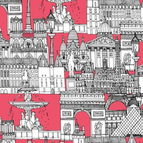 Paris toile strawberry pink