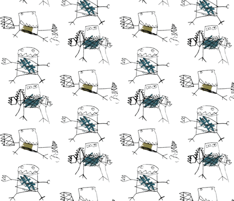 Robots by Joshua, age 4. fabric by katlove on Spoonflower - custom fabric