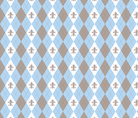 Argyle in Paris Blue/Taupe fabric by writefullysew on Spoonflower - custom fabric