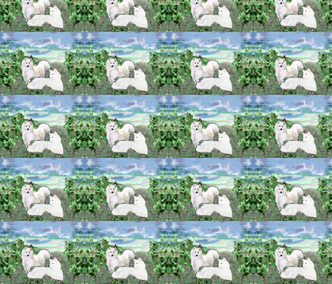 Samoyeds on a summer day fabric by dogdaze_ on Spoonflower - custom fabric
