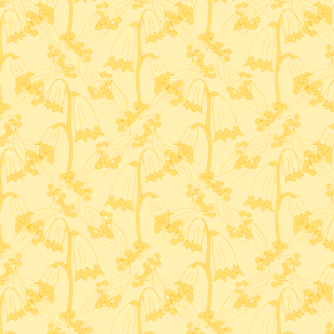 Christmas Bells and Golden Wattle - Tonal Golds (1) fabric by rhondadesigns on Spoonflower - custom fabric